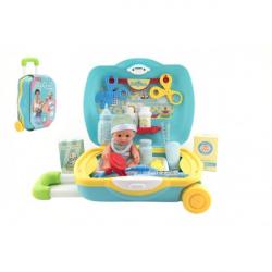 Sada starostlivosti o bábätko + sada doktor plast 19 ks v kufri na kolieskach
