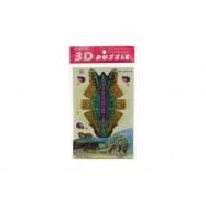 3D dinosaurus puzzle skladačka papierové ako 4 druhy v sáčku 15x26x0,5cm