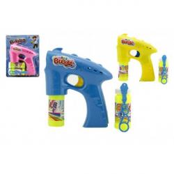 Bublifuk pistole plast 13cm + 1x náplň na baterie asst 3 barvy na kartě