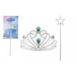 Sada krásy pro princezny plast korunka + hůlka