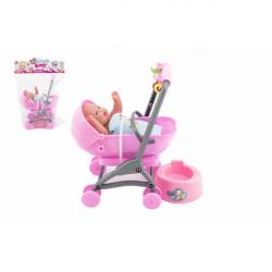 Bábätko / bábika kĺbová 12cm v kočíku 10x14x18cm plast s doplnkami v sáčku