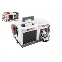 Garáž + auto ambulancie 15 cm plast na batérie so svetlom so zvukom v krabici 37x20x24,5cm