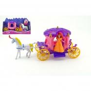 Kůň s kočárem + panenka plast 40 cm v krabici