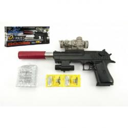 Pištoľ plast / kov 33cm na vodnej guličky + náboje 9-11mm na batérie so svetlom v krabici 34x13x4cm