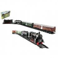 Pociąg + 3 wagony z szynami 24 szt. Plastikowa bateria ze światłem i dźwiękiem