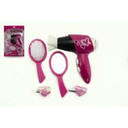 Zestaw kosmetyków z suszarką do włosów i plastikowymi akcesoriami