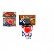 Basketbalová sada na prilepenie na stenu loptička + kôš plast 14cm na karte