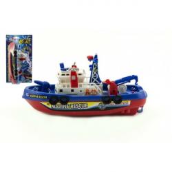Loď / Čln plast 25cm na batérie striekacie vodu na karte