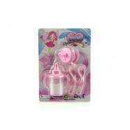 Kojenecká lahvička pro panenky s mlékem+dudlík+lžičky plast na kartě 14x20cm