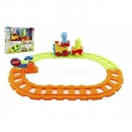 Pociąg z wagonami i zwierzętami 30 cm plastikowy akumulator ze światłem i dźwiękiem