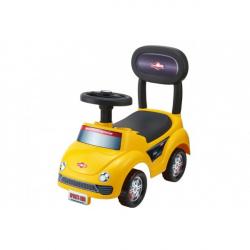 Odrážedlo auto plast žluté výška sedadla 20cm v krabici 48x23,5x22,5cm 12-35 cm