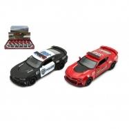 Auto Kinsmart Chevrolet Camaro policie/hasiči 12cm kov asst 2 barvy na zpětné natažení 12ks v boxu