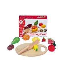Owoce do krojenia + deska, drewniane, 17 el.
