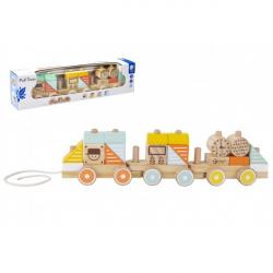 Drewniany pociąg ciągnący 21 sztuk