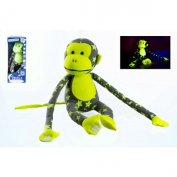 Małpka świecąca w ciemności pluszowa – szara/żółta