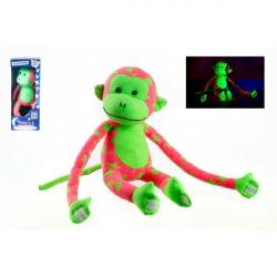Małpka świecąca w ciemności pluszowa – różowa/zielona