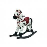 Kůň houpací bíločerný plyš na baterie 71 cm
