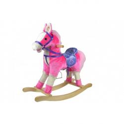 Kůň houpací růžový plyšový se zvukem