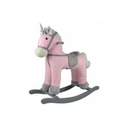 Kôň hojdaci ružový jednorožec plyšový, so zvukom