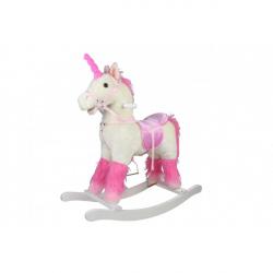 Kůň houpací bílý jednorožec plyšový se zvukem