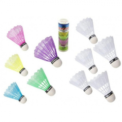 Loptičky / Košíčky na badminton plast 5ks v tube, 2 farby 6x19x6cm