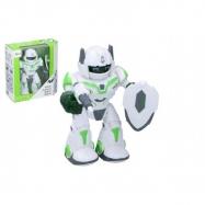 Robot chodiaci a otáčacia s doplnkami 20 cm na batérie so zvukom a svetlom