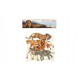 Plastikowe safari zwierząt 11 - 15 cm 5 sztuk w torbie