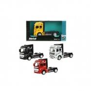Auto nákladní tahač truck kov 10cm na zpětné natažení asst 4 barvy v krabičce