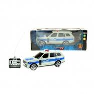 Auto RC polícia plast 25cm na diaľkové ovládanie na batérie so svetlom sa v krabici 28x11x10cm