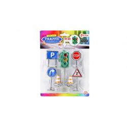 Semafor funkčné + značky plast 12 cm na batérie so svetlom