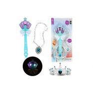 Kouzelná hůlka + čelenka a náhrdelník Ledová princezna plast na bat. se zvukem se světlem na kartě