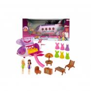 Letadlo plast s panenkami, oblečky a s plážovým setem 20ks v krabici 44x21x22cm
