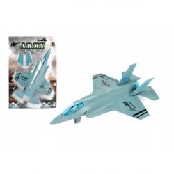 Lietadlo / stíhačka vojenská A-98 plast 22cm na spätné natiahnutie na karte