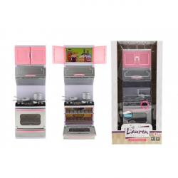 Kuchyňka s doplňky plast na baterie se světlem se zvukem v krabici 18x36x8cm