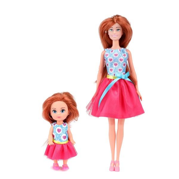 Bábika kĺbová pevné telo plast 30cm s dieťaťom s doplnkami