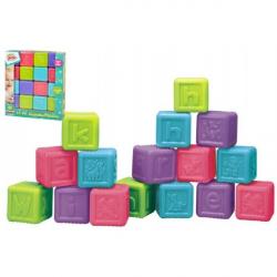Kostki alfabetu plastikowe 16szt. W pudełku 21x24x6cm 6 m+