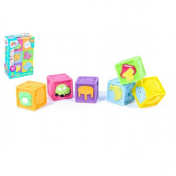 Detské pískacie kocky gumové 6ks v krabici 16x23x6cm 6m +