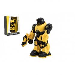 Robot bojovník chodící plast 23cm na baterie se zvukem se světlem v krabici 24x30x12cm