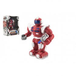 Robot bojovník chodící plast 23 cm na baterie se světlem se zvukem v krabici 22x30x13cm