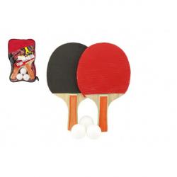 Sada stolný tenis / ping pong drevená 24cm s loptičkami v puzdre