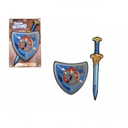 Meč so štítom penový 53cm na karte