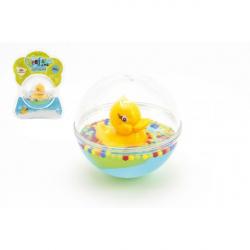 Kačička plávajúce v guli plast 12cm s vodou pre najmenších v blistri 12m +