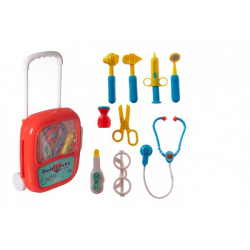 Sada doktor / lekár plast sa stetoskopom na batérie v plastovom kufríku na kolieskach