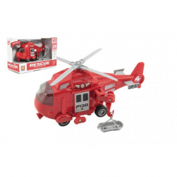 Vrtulník záchranářský plast 21cm na setrvačník na bat. se světlem se zvukem v krabici 24x15,5x11cm