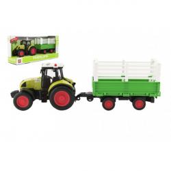 Traktor s vlekem plast 39 cm na setrvačník na baterie se zvukem se světlem