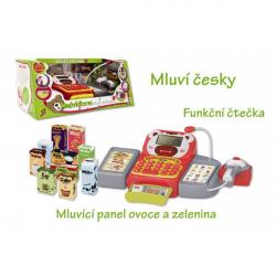 Pokladna česky mluvící dig.plast 36cm s doplňky na baterie se zvukem se světlem v krabici 43x19x23cm