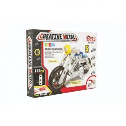 Stavebnica kovová motorka 139 dielikov