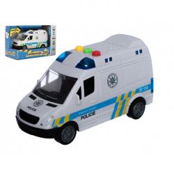 Auto polícia dodávka plast 15cm na zotrvačník na batérie so zvukom sa svetlom v krabici 19x13x9cm