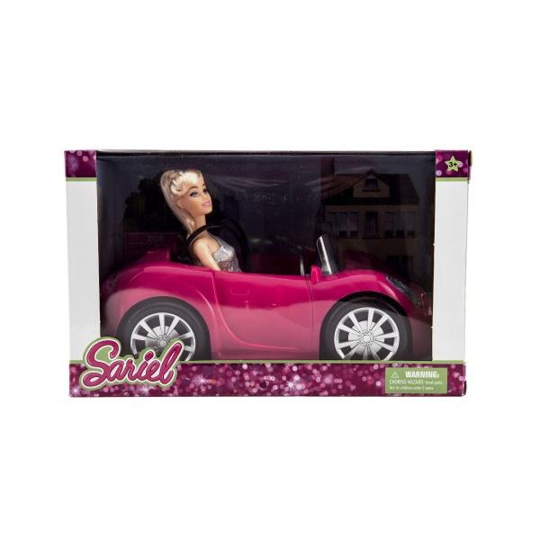 Przegubowa lalka 30cm plastikowa z swobodnie jeżdżącym samochodem