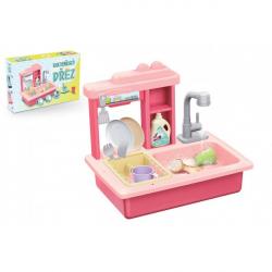 Dřez na mytí nádobí růžový + kohoutek na vodu na baterie plast s doplňky